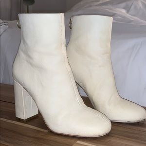 Joie Shoes - Joie Saleema White Leather Booties